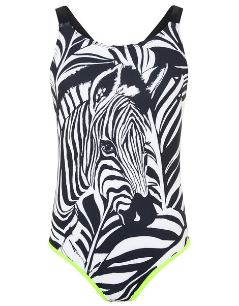 Zebra Print Swimsuit Black, Black (BLACK), large