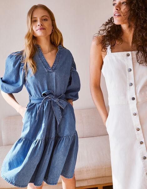 Puff Sleeve Belted Denim Dress Blue, Blue (DENIM BLUE), large