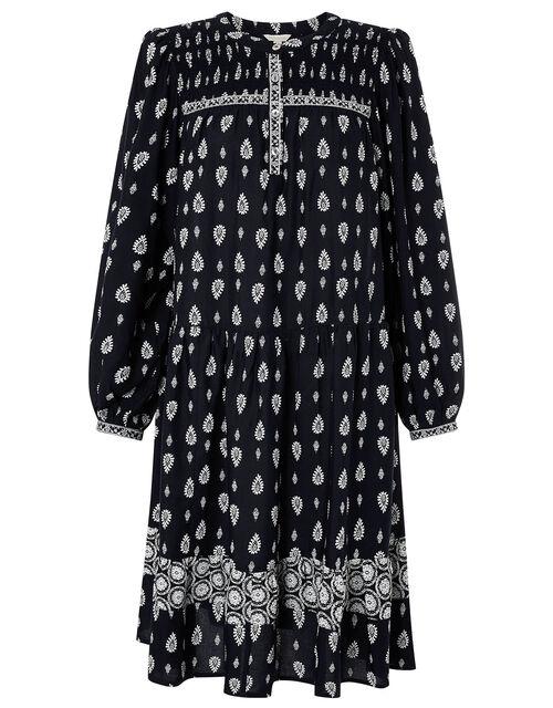 Heritage Print Dress in LENZING™ ECOVERO™, Blue (NAVY), large