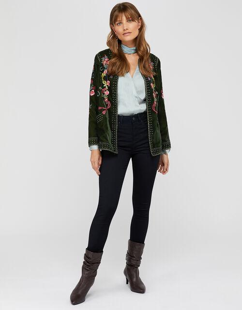 Callie Embroidered Velvet Jacket, Olive, large
