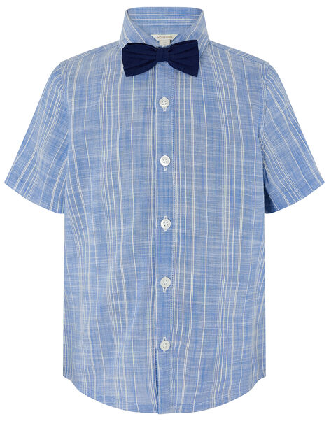 Slub Shirt with Bow Tie  Blue, Blue (BLUE), large