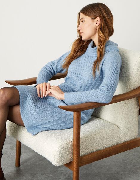 Cable Knit Cowl Neck Dress Blue, Blue (BLUE), large