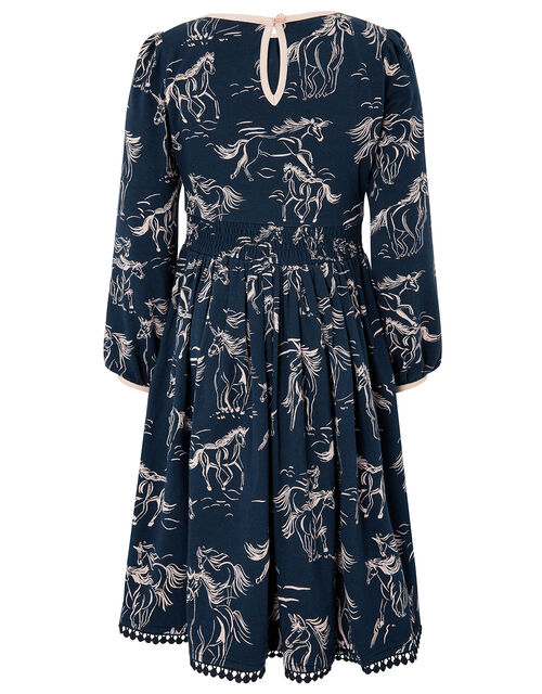 Horse Jersey Dress with Organic Cotton, Blue (NAVY), large