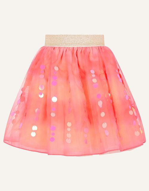 Sequin Tie Dye Skirt , Orange (CORAL), large