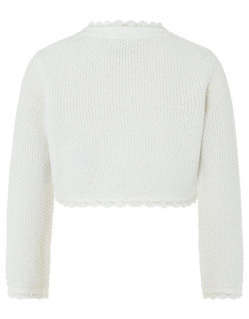 Baby Shimmer Knit Cardigan, Ivory (IVORY), large