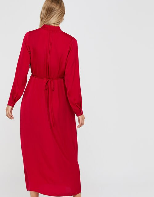 Felicity Satin Midi Dress, Red, large