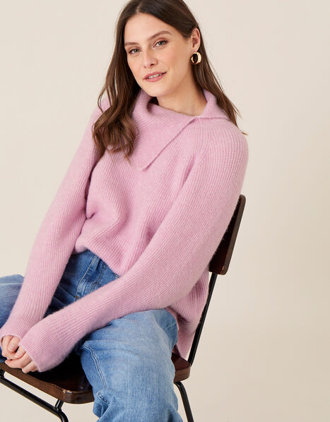 LOUNGE Split Neck Knit Jumper  Pink, Pink (PINK), large