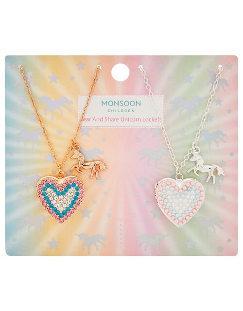 Unicorn Locket Friendship Necklace Set, , large