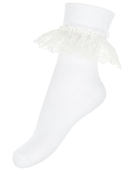 Melissa Heart Lace Socks White, White (WHITE), large