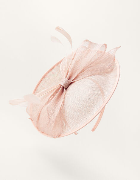 Bow Disc Fascinator  Pink, Pink (BLUSH), large