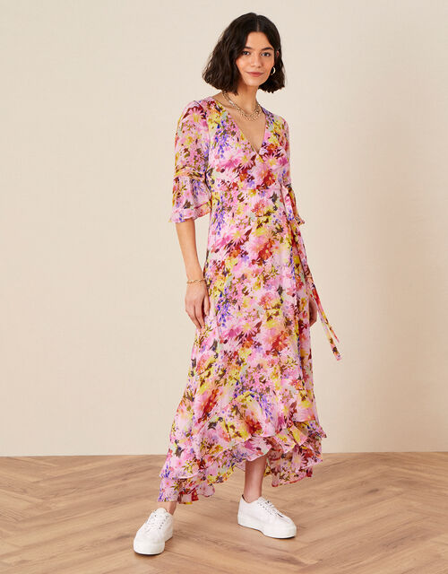 Helen Dealtry Krishana Floral Wrap Dress, Pink (BLUSH), large