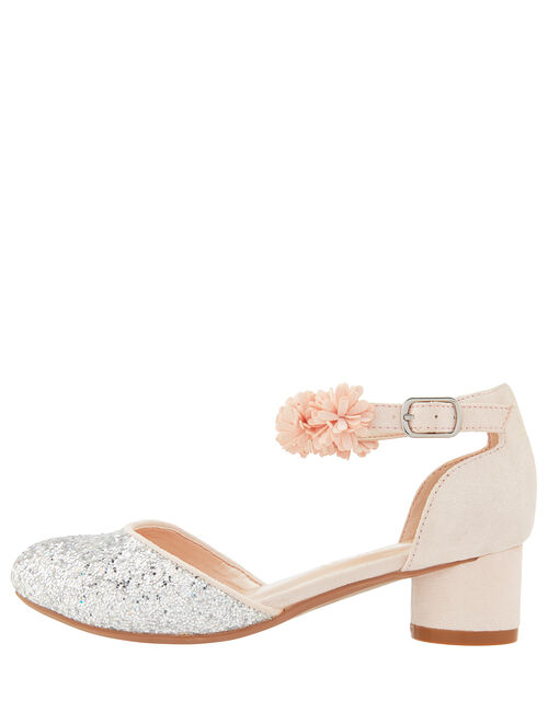 Becky Glitter Corsage Shoe, Pink (PALE PINK), large