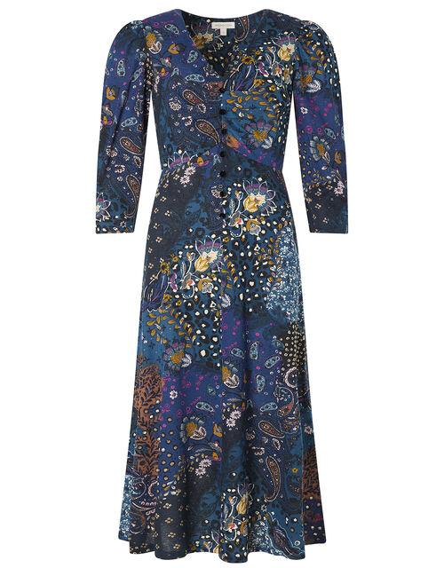 Printed Jersey Midi Dress with Organic Cotton, Blue (BLUE), large