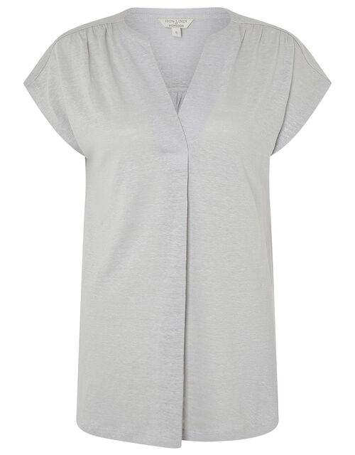 Split T-Shirt in Pure Linen, Grey (GREY), large