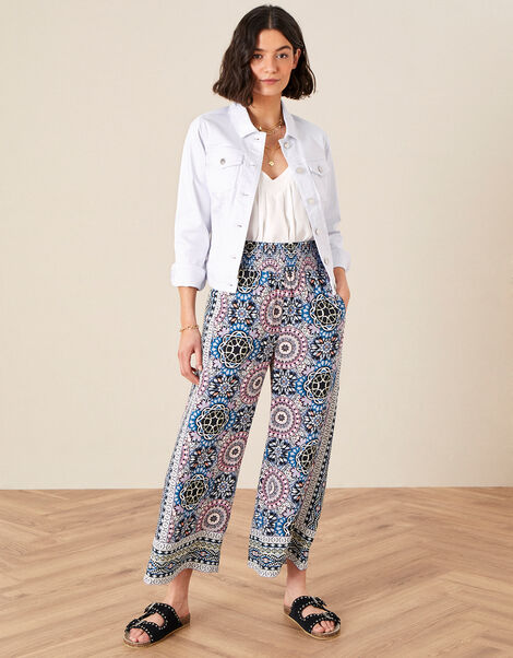 Leighton Printed Wide Leg Trousers  Blue, Blue (BLUE), large