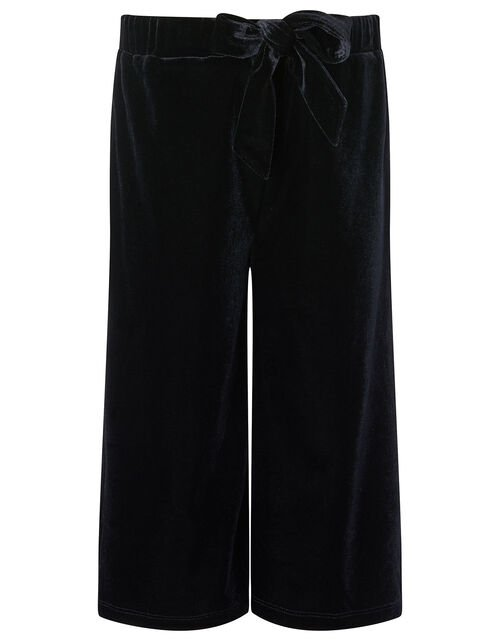 Metallic Top and Velvet Culottes Set, Black (BLACK), large
