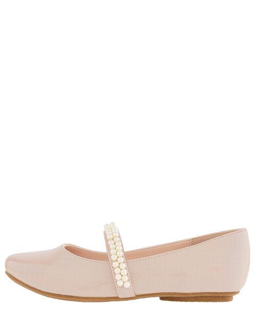 Valerie Pearl Strap Shimmer Ballerina Shoes, Pink (PINK), large