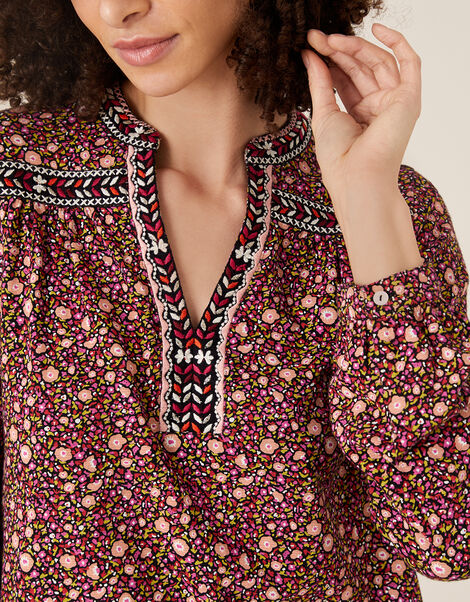 Embroidered Trim Floral Blouse Red, Red (RED), large