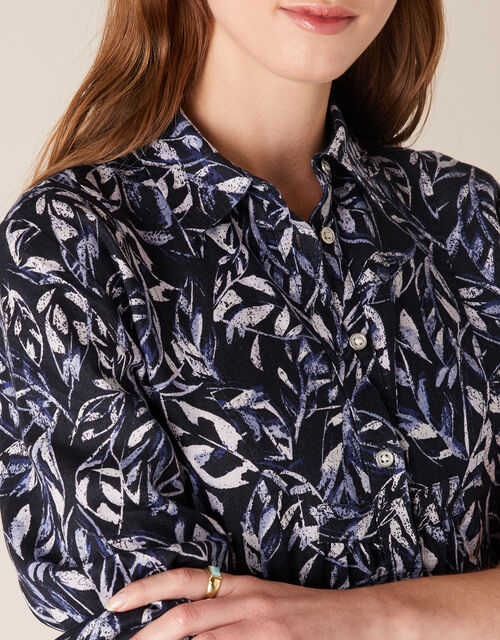 Phoenix Printed Shirt in Pure Linen, Blue (NAVY), large