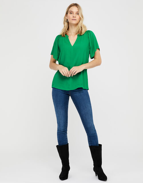 Arabella Short Sleeved Blouse, Green (GREEN), large