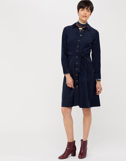 Coralie Cord Midi Dress, Blue (NAVY), large