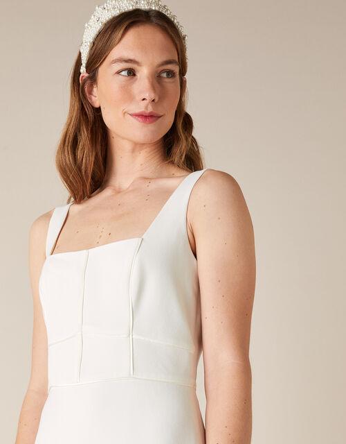 Deja Square Neck Bridal Dress, Ivory (IVORY), large