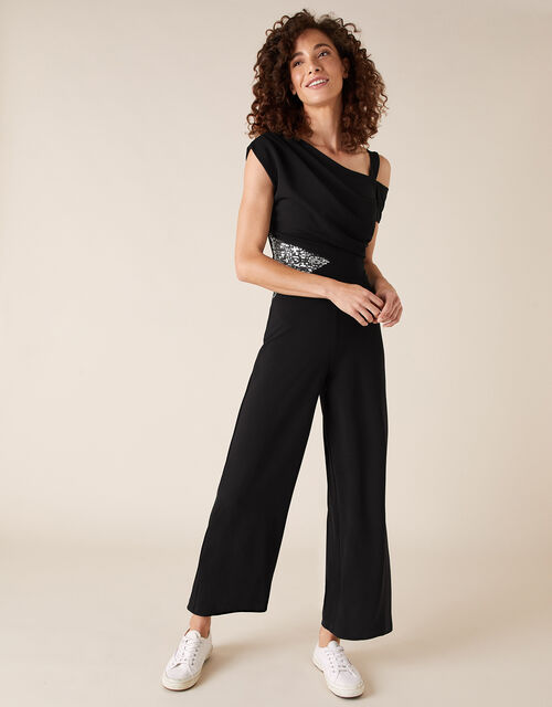 Octavia Sequin Insert Stretch Jumpsuit, Black (BLACK), large