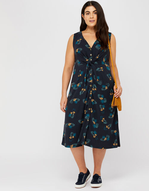 Laticia Printed Tie Front Dress, Blue (NAVY), large