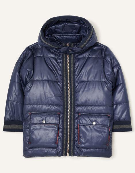 Jersey Trim Padded Coat Blue, Blue (NAVY), large
