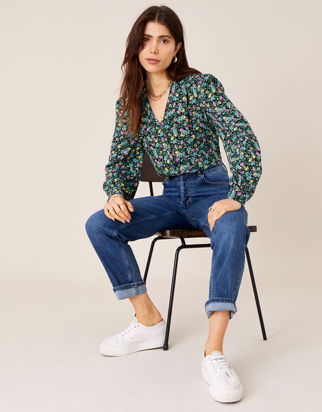 Ditsy Floral Print Collar Top Blue, Blue (NAVY), large