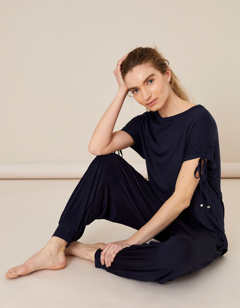 LOUNGE Ruched Sleeve T-Shirt Blue, Blue (NAVY), large