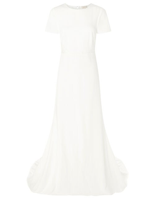 Shauna Crepe and Lace Bridal Dress, Ivory (IVORY), large