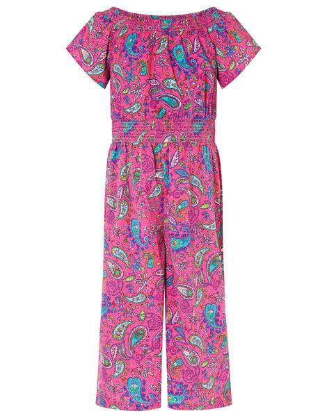 Paisley Shirred Jumpsuit Pink, Pink (PINK), large