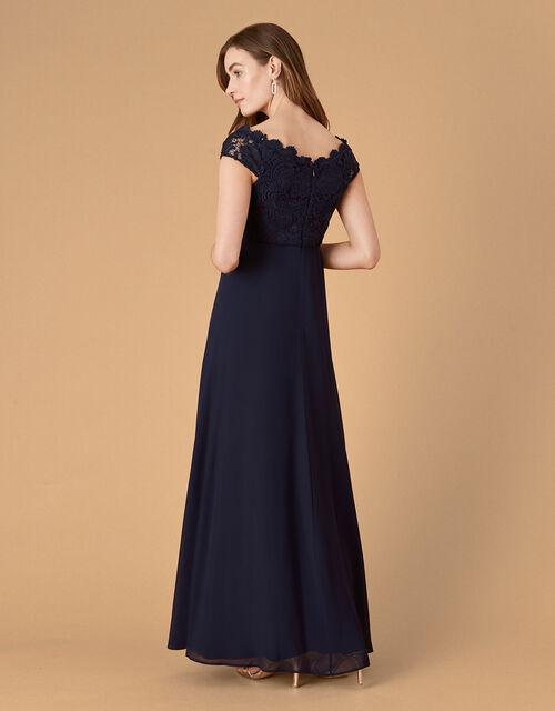 Dawn Lace Bardot Maxi Dress, Blue (NAVY), large