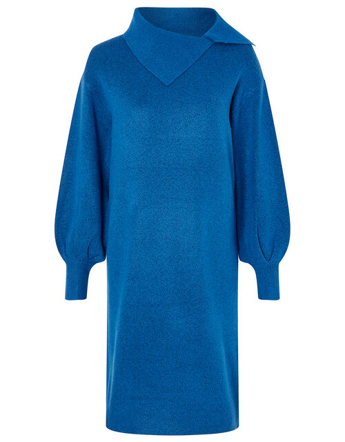 Split Neck Knit Dress, Blue (BLUE), large