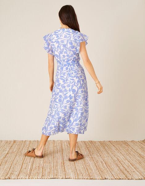 Tulip Print Midi Dress Blue, Blue (BLUE), large