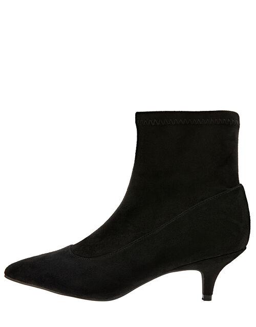 Vixie Ankle Suedette Sock Boots, Black (BLACK), large