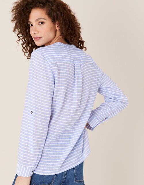 Stacy Stripe Shirt in Linen Blend, Blue (BLUE), large