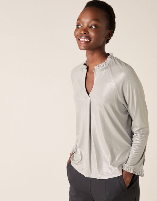 Gayle Shimmer Blouse with LENZING™ ECOVERO™, Grey (GREY), large