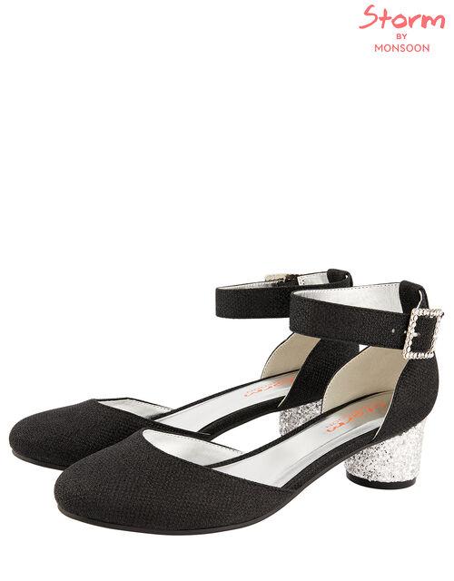 Glitter Heel Shoes, Black (BLACK), large