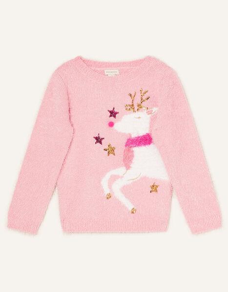 Reindeer Fluffy Jumper Pink, Pink (PINK), large