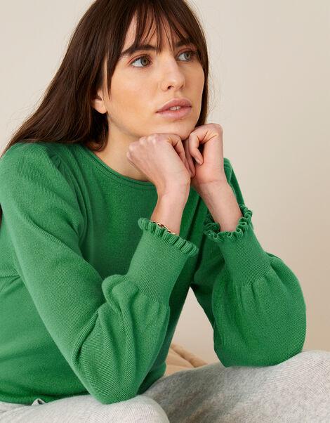 Scoop Neck Knit Jumper Green, Green (GREEN), large