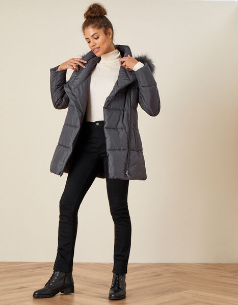 Padded Faux Fur Hooded Coat Grey, Grey (CHARCOAL), large