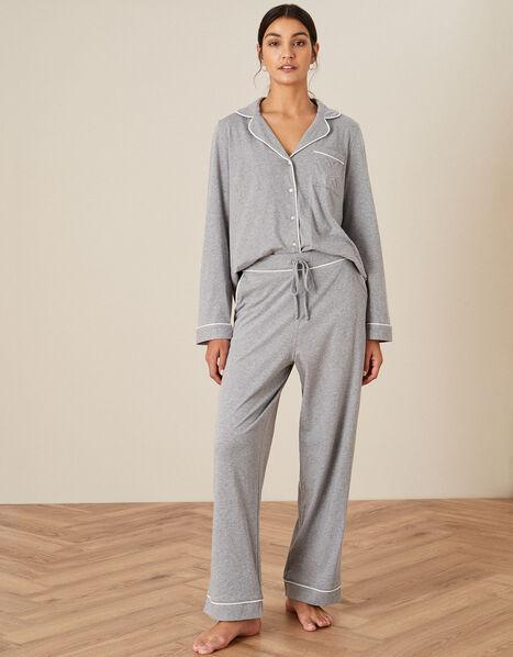 Plain Jersey Pyjama Bottoms Grey, Grey (GREY), large