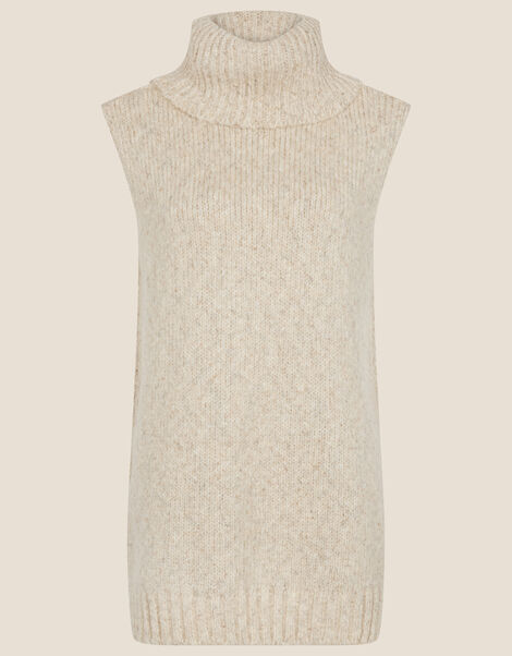 Cowl Neck Sleeveless Sweater Natural, Natural (NEUTRAL), large
