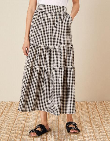 Gingham Tiered Skirt  Natural, Natural (NATURAL), large