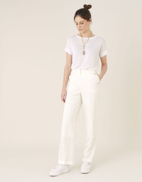 Smart Longer Length Trousers in Linen Blend White, White (WHITE), large