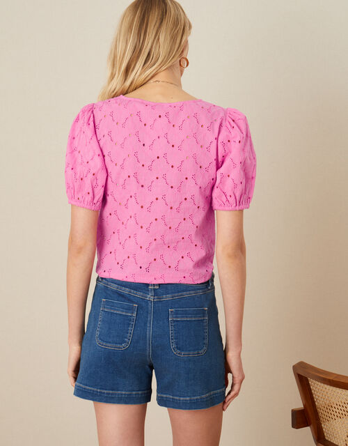Tie Front Broderie Top, Pink (PINK), large