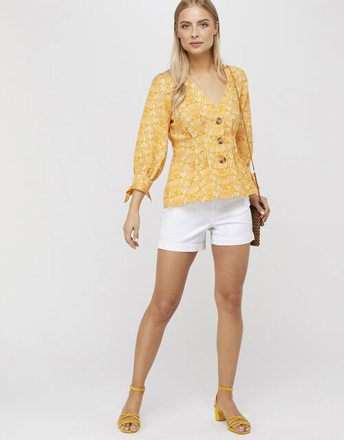 Nicole Printed Top in Linen Blend, Yellow, large
