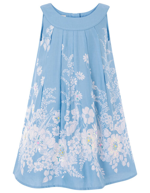 Floral Embellished Swing Dress, Blue (BLUE), large